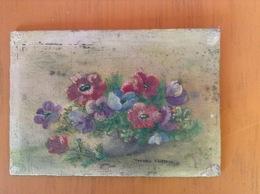 Corbeille De Fleurs .Huile Sur Bois Y.Contryn. 14x10 Cm - Olieverf