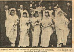 In Bethune Traten 5 Schwestern Gleichzeitig Zum Traualtar /Druck,entnommen Aus Zeitschrift / 1946 - Bücher, Zeitschriften, Comics
