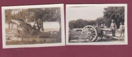 050518 - MILITARIA GUERRE 1914 18 - 2 Photos Canon Canonnier 1917 - Guerre, Militaire