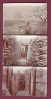 050518 - MILITARIA GUERRE 1914 18 - 3 Photos Dans Les Tranchées  Militaire - Guerra, Militares