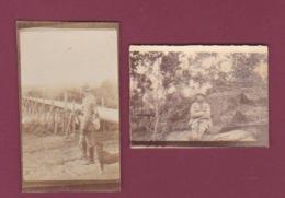 050518 - MILITARIA GUERRE 1914 18 - 2 Photos GERNICOURT Passerelle De L'Aisne 1917 Bois - Guerra, Militares