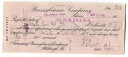 Pennsylvania Company, Colombus, Ohio Station, USA - Check / Cheque Issued To Another Railroad Company In 1912 - Cheques & Traveler's Cheques