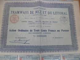 Action TroisCent Francs Compagnie Des Tramways De Nice Et Du Littoral - Transports