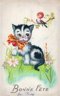 V13322  Cpa Illustrée Chat - Chats, Bonne  Fête - Gatti