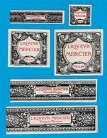 Rare Etiquette Ancienne (Lot De 6) LIQUEUR MERCIER 76 FECAMP * Graveur Stern Paris - Autres Collections