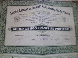 Action 500 Francs Au Porteur Société Anonyme De Produits Alimentaires Des Cévennes Alès Alais 1929 - Agriculture