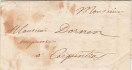 Lettre Sans Marque Postale De ORANGE Vaucluse 14/10/1838 Pour Carpentras - Marcofilia (sobres)