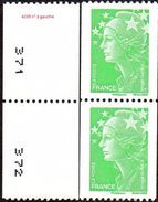 France Roulette N° 4239 P ** Marianne De Beaujard Gommé - Numéro Verso à Gauche De 20 Grammes, Vitesse Lente Le Vert - Rollen