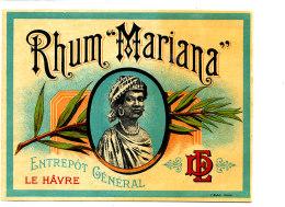 960 /  ETIQUETTE DE   RHUM  - MARIANA   LE HAVRE - Rhum