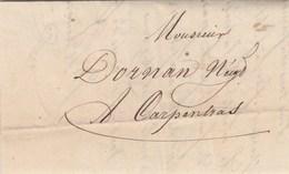 Lettre Sans Marque Postale De LA MURE Isère 21/12/1844 Pour Carpentras Vaucluse - Marcofilia (sobres)