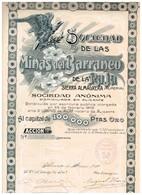 Ancienne Action - Sociedad De Las Minas Det Barranco Raja De La Sierra Almagrera (Almeria) -Titre De 1909 - - Mines