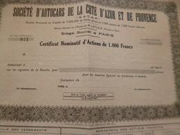 Action Obligation  1 000 Francs Au Porteur Société D'autocars De La Côte D'Azur Et De Provence - Transports