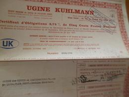 Action Obligation  500 Francs Au Porteur Ugine Kuhlmann - Industrie