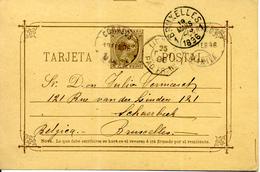 Filipinas Entero Postal Circulado A Bélgica 1896 Diversa Marcas Laíz 11c - Philippinen