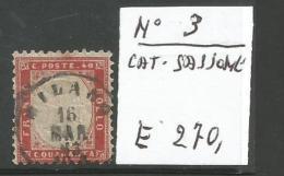 B2LR5--  REGNO D'ITALIA,   N° 3,   1862, - Gebraucht
