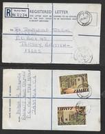 Zambai Registered  30n,SKYWAYS NDOLA 22 JUL 76 Jersey G.B,  .NDOLA  Transit - Zambia (1965-...)