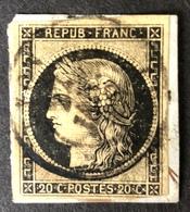 1849 - 1850 Céres N°3 Sur Petit Fragment 20c Noir Oblitéré Du 27 Janvier 1849 Càd Type 15 Signé Calves - 1849-1850 Ceres
