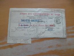 Action Obligation 100 Francs Union Des Coopérateurs Du Gard Nîmes 1930 - Agriculture