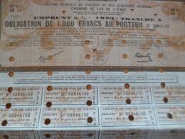 Action  Au Porteur Obligation 1 000 Francs Grand Réseaux De Chemins De Fer D'Intérêt Général - Railway & Tramway