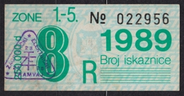 Tramway Tram ZAGREB Croatia Yugoslavia - Month Ticket - 1989 - Season Ticket