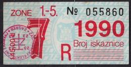 Tramway Tram ZAGREB Croatia Yugoslavia - Month Ticket - 1990 - Season Ticket