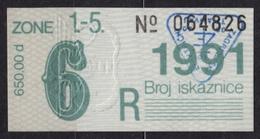 Tramway Tram ZAGREB Croatia Yugoslavia - Month Ticket - 1991 - Season Ticket