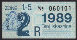 Tramway Tram ZAGREB Croatia Yugoslavia - Month Ticket - 1989 - Europe