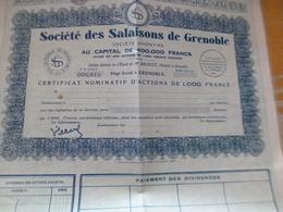 Action  Au Porteur Obligation Société Des Salaisons De Grenoble 1 000 Francs - Agriculture