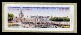 France Vignette 2014 Lisa - Neuf ** -  87e Congrès FFAP Paris 2014 - Institut De France - Sans Valeur D'affranchissement - 2010-... Vignettes Illustrées