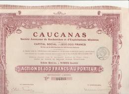 ACTION DE 100 FRS - CAUCANAS - RECHERCHES D'EXPLOITATION MINIERE  -NIMES - 1923 - Africa