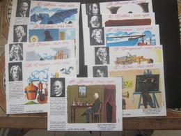Lot & Série De 10 BUVARD Illustrés Collection HOMMES CÉLÈBRES ÉCRIVAINS CHERCHEURS-AVIATION-AUTOMOBILE-INVENTEURS- - Collections, Lots & Series