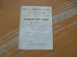 Action  Au Porteur Obligation Union Des Coopérateurs Du Gard Nîmes 100 Francs - Afrique