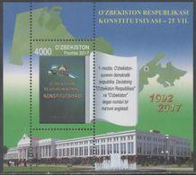 UZBEKISTAN, 2017, MNH, CONSTITUTION, PARLIAMENT BUILDING, FOUNTAINS, S/SHEET - Architectuur