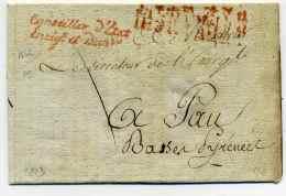 Franchise : Conseiller D'Etat Enregistrementdes Domaines + AFFRANCHI PAR ETAT / 3 Décembre 1813 - Marcophilie (Lettres)