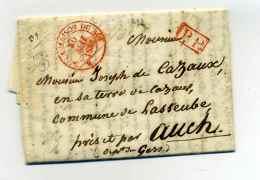 Franchise : BUREAU DE LA MAISON DU ROI - T14 Rouge / En Port Payé Pour AUCH / 30 Mai 1836 - Marcophilie (Lettres)