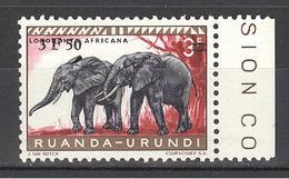 1960 Obp Nr 224 **  3,50 Op 3Fr Rood Olifant Elephant  éléphant - Ruanda-Urundi