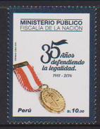 PERU, 2016, MNH, PUBLIC MINISTRY , JUSTICE, MEDALS,  1v - Stamps
