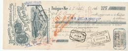 246/20 - FRANCE Mandat Illustré Médailles Expositions BOULOGNE 1910 - Poissons Duchochois § Canu - TP Fiscal 10 C. - Expositions Universelles