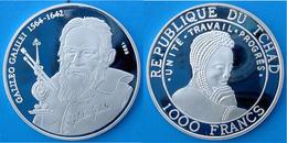 TCHAD 1000 F 1999 ARGENTO PROOF SILVER GALILEO GALILEI 1564-1642 GREAT SCENTIST DISCOVERY RARE PESO 15g TITOLO 0,999 CON - Ciad