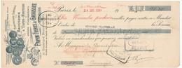 249/20 - FRANCE Mandat Illustré Médailles Expositions PARIS 1910 - Brosserie Papin § Grousset - TP Fiscal 5 C. - Expositions Universelles