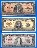 Lot Cuba 5 50 100 Pesos 1950 Peso Centavos Kuba Paypal Skrill Bitcoin OK - Cuba