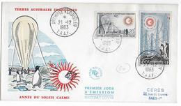 TAAF - 1963 - RARES YT N°21 +  POSTE AERIENNE YT N° 7 Sur ENVELOPPE FDC - COTE TIMBRES = 195 EUR. - Terres Australes Et Antarctiques Françaises (TAAF)