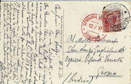 CARTOLINA  ILLUS CENSURA MILITARE ROSSA SONDRIO 1917 MILANO X GROSIO - 1900-44 Vittorio Emanuele III