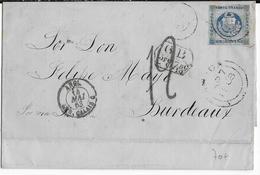 1863 - PEROU - LETTRE De TACNA Avec TAXE 12 + TAXE ANGLAISE (VOIE MARITIME ANGLAISE) => BORDEAUX - Pérou