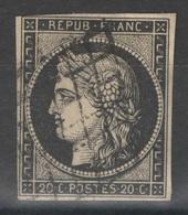 France - YT 3 20c Noir Sur Jaune Oblitéré Grille - TB - 1849-1850 Ceres