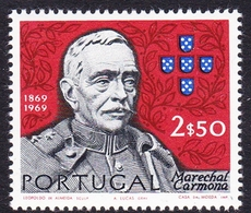 Portugal SG 1386 1970 Birth Centenary Of Carmona, 2e 50c Blue, Red And Black, Mint Never Hinged - Unused Stamps