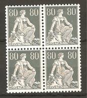 Zu 141y / Mi 141y / YT 166 Papier Crayeux Bloc De 4 **/MNH SBK 240,- Voir Description - Schweiz