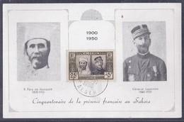 Carte Maximum Pere De Foucauld General Laperrine 1950 - Cartoline Maximum
