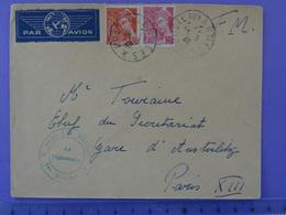 Tarif Du 1.10.1928 Encore En Vigueur Au 18.5.40 Très Rare Avec Franchise Militaire + 35c De Surtaxe Aérienne Iris - Postmark Collection (Covers)