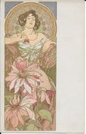 """T.belle Cpa De MUCHA Alphonse -série """"Les Fleurs"""" Dame Aux Dalhias -série Dans L'album Famille - Illustrateurs & Photographes"""